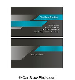 Tech business card blue and black concept vector