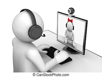Tech collection - Videochat - 3d characters isolated on...