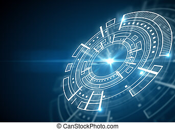 Tech concept - Side view of abstract blue digital circle on...
