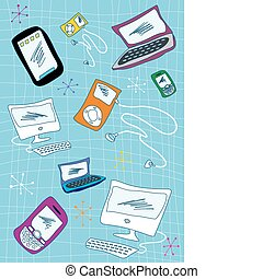 Tech devices icons set illustration - Handwriting...