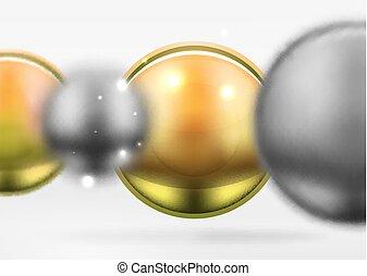 tech, elken spheres, és, kerek, karikák, noha, sima, és, fémből való, felszín