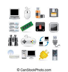 tech  - Illustration of technology icon set