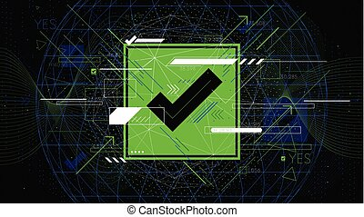 Tech futuristic green check mark symbols OK, indicator sci-fi vector backgrounds