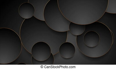 Tech geometric motion background with abstract bronze and black circles. Video animation Ultra HD 4K 3840x2160