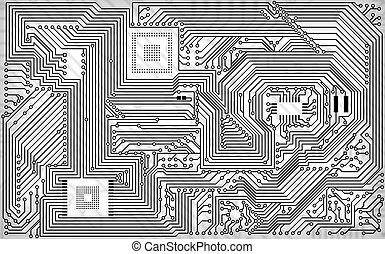 Tech industrial electronic white - black background