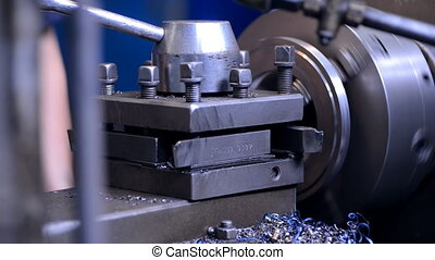 tech mechanics Inspector hand checks milling machine, tool to measure or just an expert checks the creation of item