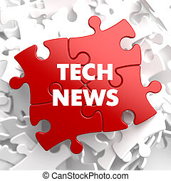Tech News on Red Puzzle. - Tech News on Red Puzzle on White...