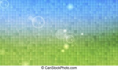 Tech summer nature pixelated mosaic motion design. Video...