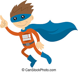 Tech Superhero - Tech superhero with cape flying through the...