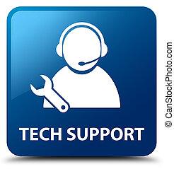 Tech support blue square button