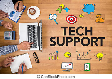 TECH SUPPORT Business team hands at work with financial reports and a laptop