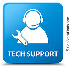 Tech support cyan blue square button