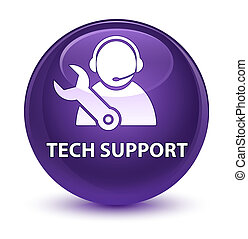 Tech support glassy purple round button