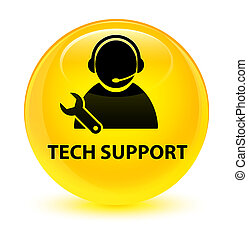 Tech support glassy yellow round button
