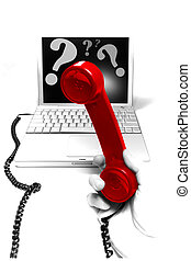 Tech Support Hotline - Conceptual image: red phone receiver...