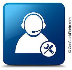 Tech support icon blue square button