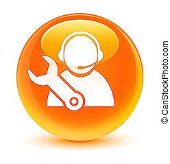 Tech support icon glassy orange round button