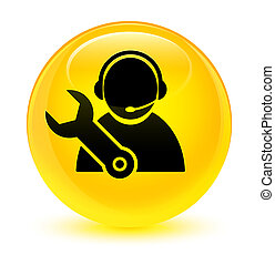 Tech support icon glassy yellow round button