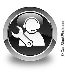 Tech support icon glossy black round button