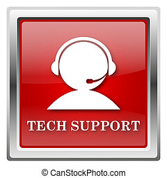 Tech support icon - Metallic icon with white design on red...