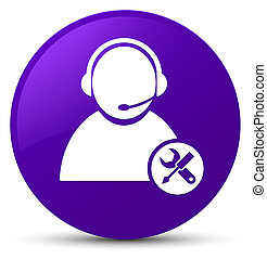 Tech support icon purple round button