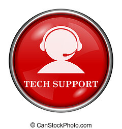 Tech support icon - Red round glossy icon with white design...