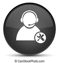 Tech support icon special black round button