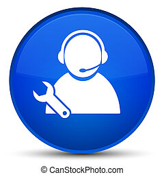 Tech support icon special blue round button