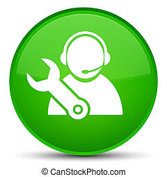 Tech support icon special green round button