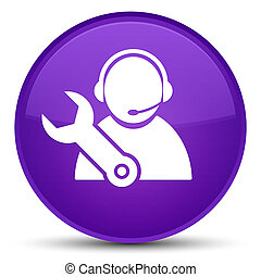 Tech support icon special purple round button