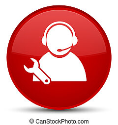 Tech support icon special red round button