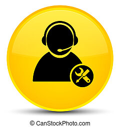 Tech support icon special yellow round button