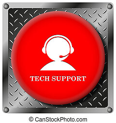 Tech support icon - Square icon with white design on red...