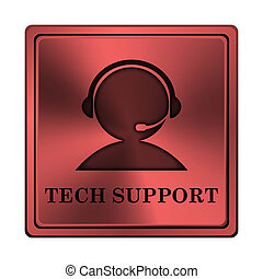 Tech support icon - Square metallic icon with carved design...