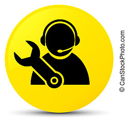 Tech support icon yellow round button