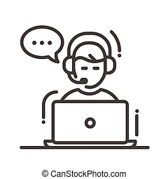 Tech support single icon - Technical support single isolated...