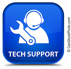 Tech support special blue square button