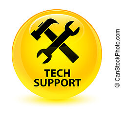 Tech support (tools icon) glassy yellow round button