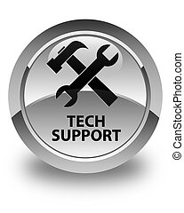 Tech support (tools icon) glossy white round button