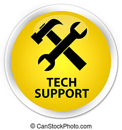 Tech support (tools icon) premium yellow round button