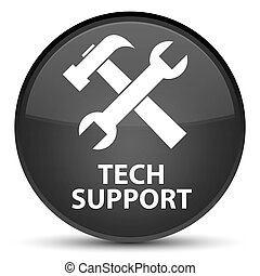 Tech support (tools icon) special black round button