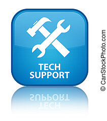 Tech support (tools icon) special cyan blue square button
