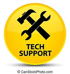 Tech support (tools icon) special yellow round button