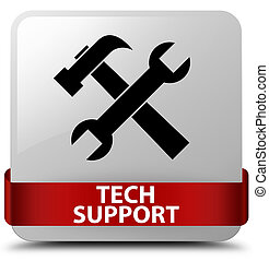 Tech support (tools icon) white square button red ribbon in middle