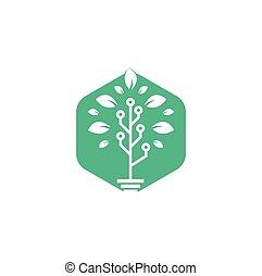 Tech Tree Logo Template Design.