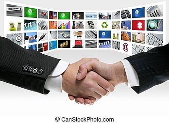tech, tv, vídeo, comunicação, tela, aperto mão