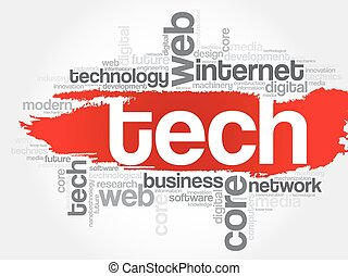 Tech word cloud, business concept