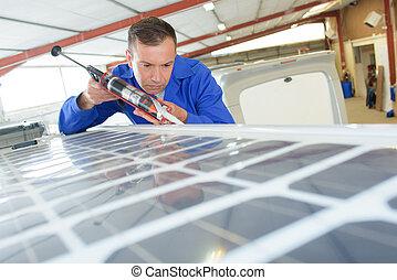 techado, instalación, panel solar