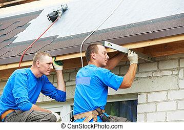 techado, trabajo, techo, doblar