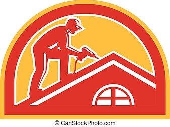 techador, trabajando, techo, retro, medio círculo